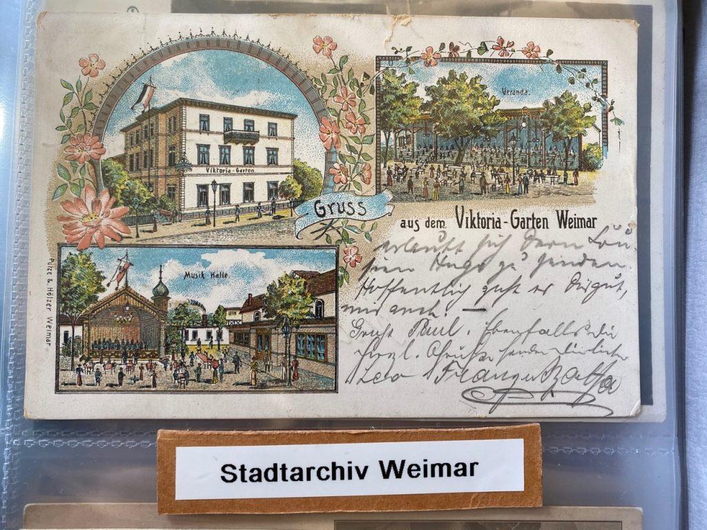 Text Box: Fotobuch von Postkarten aus Weimar, Signatur 60 3-5/20  im Stadtarchiv