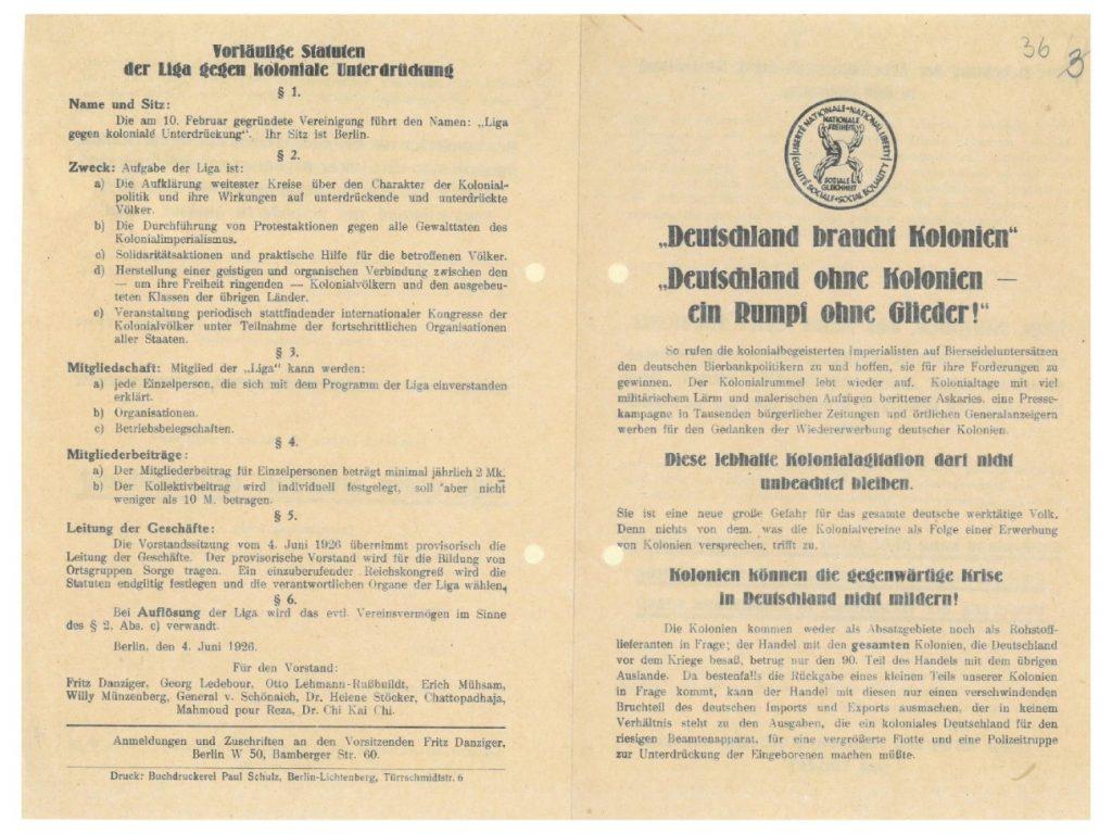 Text Box: Abbildung 3: Flugblatt der Liga gegen koloniale Unterdrückung